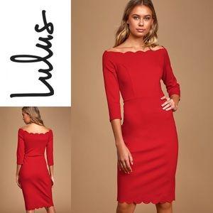 NWT LULU'S Off-the-Shoulder Bodycon Midi Dress